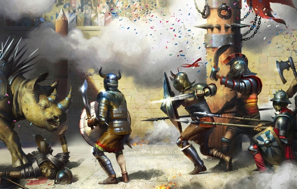 Picture weapons, dinosaur, post, sword, art, battle, shield, the corpse, stadium, armor, Rhinoceros vs. Gladiators, gladiators