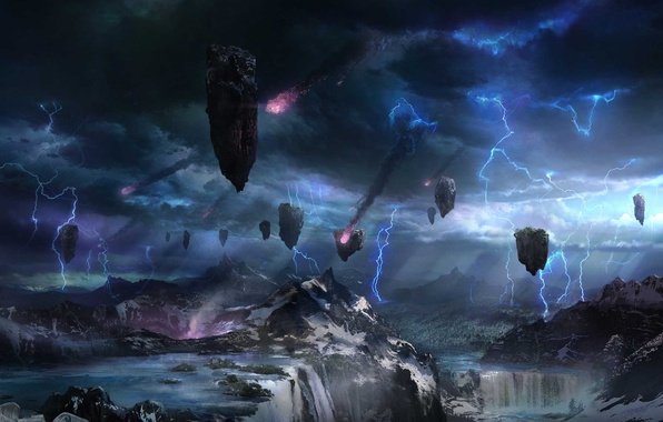 Picture landscape, mountains, clouds, rocks, zipper, waterfalls, meteors, flying