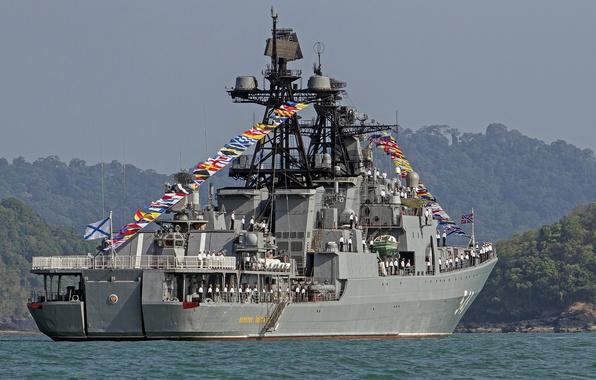 Picture ship, large, Russia, sailors, anti-submarine, Admiral Panteleyev