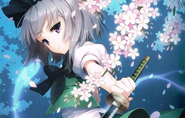 Picture girl, flowers, weapons, katana, anime, Sakura, art, touhou, konpaku youmu, an2a