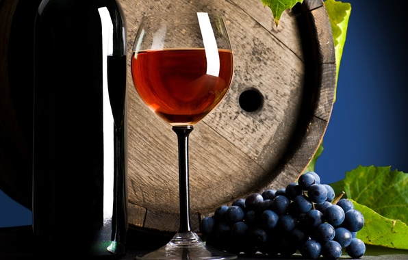 Picture table, wine, red, glass, bottle, grapes, drink, leaves, barrel
