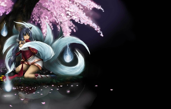Picture girl, lake, tree, Sakura, art, league of legends, tails, ahri