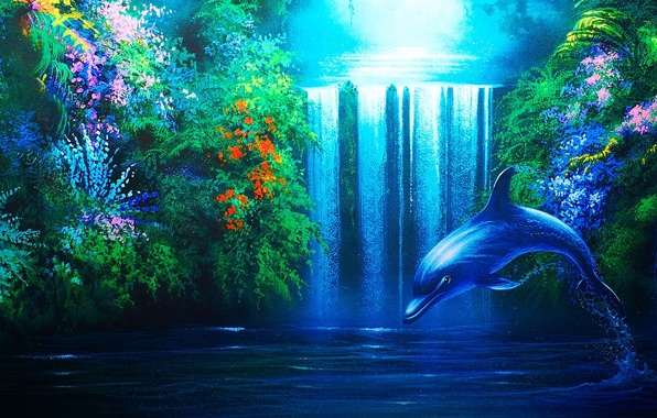 Picture Dolphin, waterfall, plants