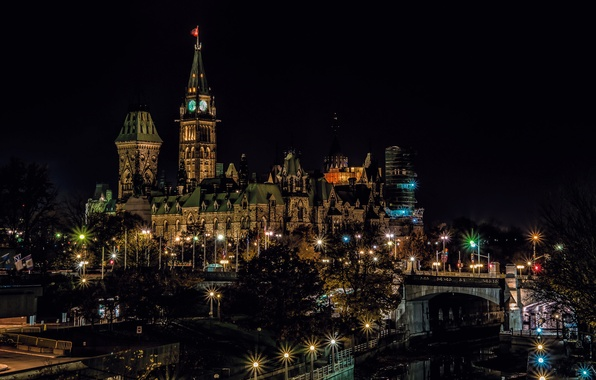 Picture night, lights, tower, Canada, Ottawa
