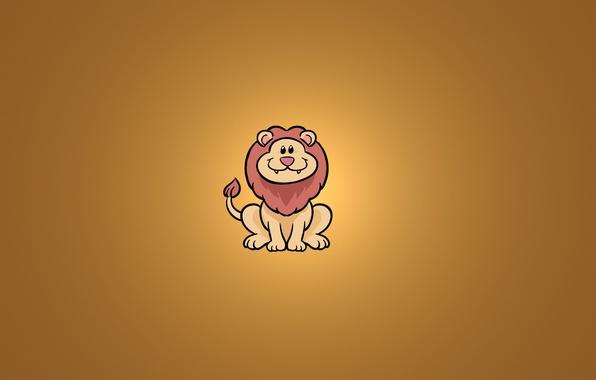 Picture smile, animal, minimalism, Leo, sitting, lion
