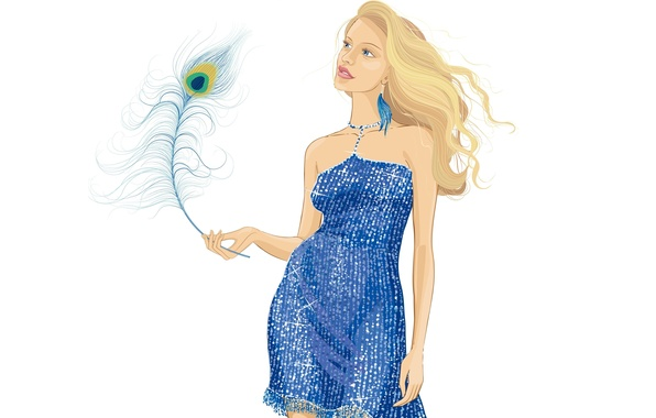 Picture look, girl, style, vector, dress, peacock feather