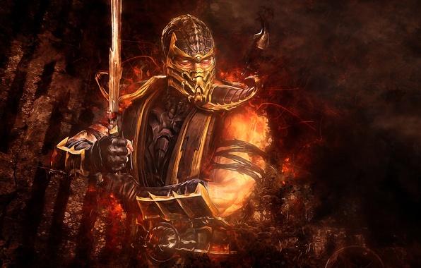 Picture abstraction, sword, Scorpio, Mortal Kombat, Scorpion, video game