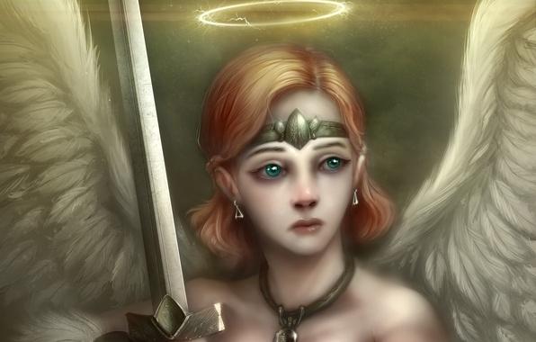 Picture girl, wings, angel, sword, art, halo