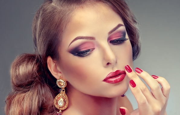 Picture eyes, face, Girls, lips, beauty, lips, face