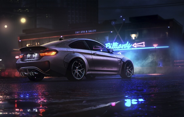 Picture BMW, Dark, Car, Night, Rain, Sport, Rear