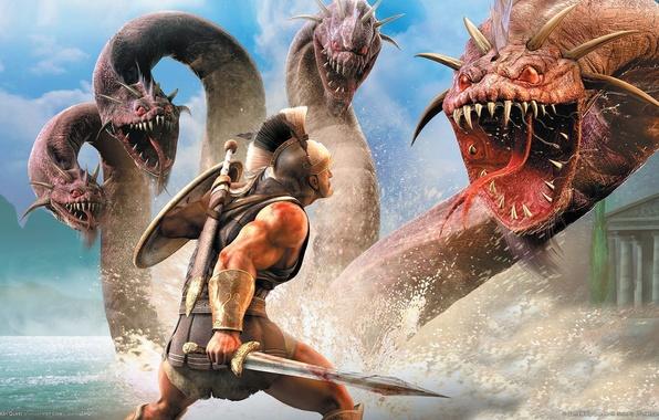 Picture warrior, fight, Hydra, Titan Quest
