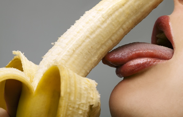 Picture lips, banana, tongue, teeth