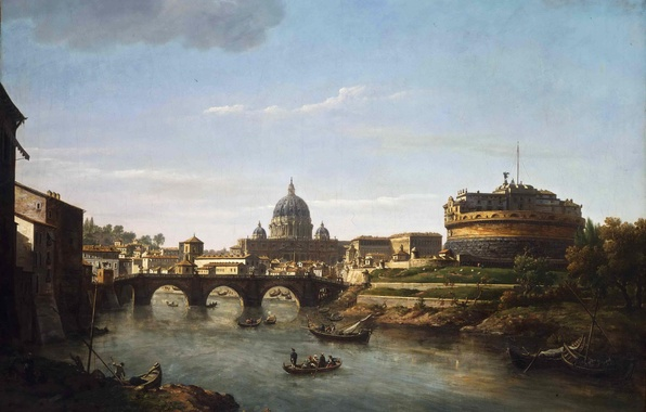 Picture the sky, clouds, bridge, river, people, boat, tower, picture, Cathedral, the dome, Rome, William Marlow, …