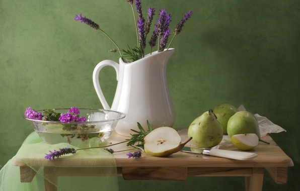 Picture flowers, table, knife, pitcher, still life, pear, lavender