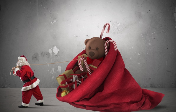 Picture red, holiday, toys, new year, gifts, Santa Claus, bag, Santa Claus, huge, drags