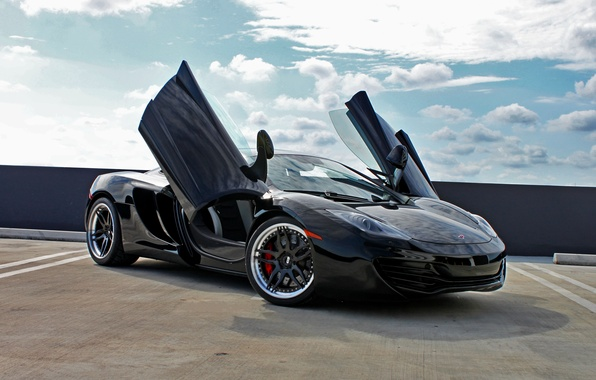 Picture black, black, McLaren, shadow, McLaren, drives, black, front view, MP4-12C