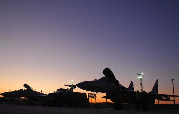 Picture sunset, the airfield, MiG-29