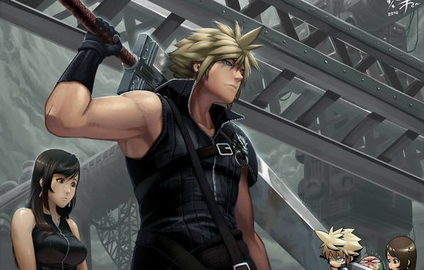 Picture look, girl, weapons, guy, Chibi, cloud strife, final fantasy, art, tifa lockhart, agustin in