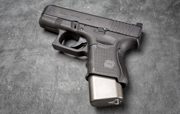 Photo wallpaper gun, weapons, background, Glock 26