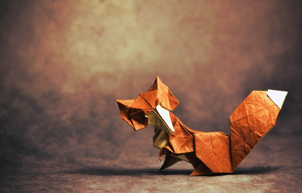Picture shadow, Fox, tail, fox, origami, tail, origami, looking, shadow, looking