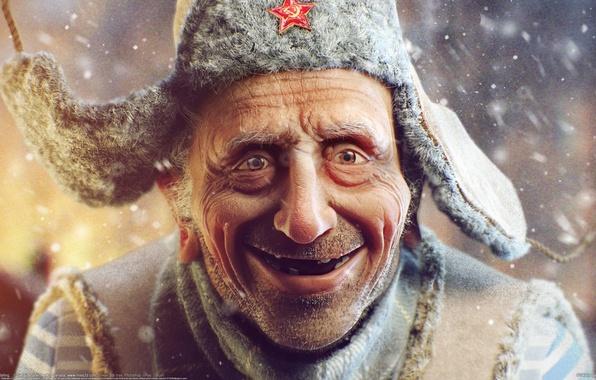 Picture snow, star, man, grandfather, the old man, hat, Sergii Andreichenko, Sergey Andreichenko