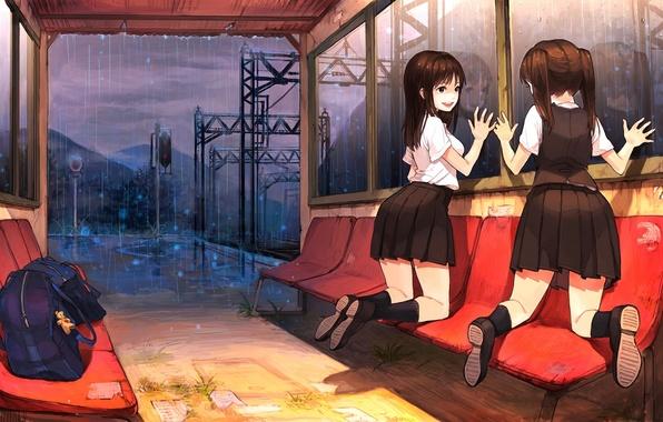 Picture the sky, clouds, light, mountains, girls, rain, toy, anime, art, portfolio, Schoolgirls, keychain, sono