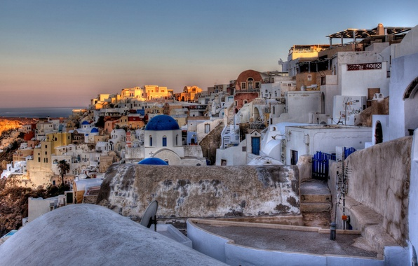 Picture the sun, nature, the city, sunrise, stones, building, home, morning, Santorini, Greece, Church, dome, Santorini, …