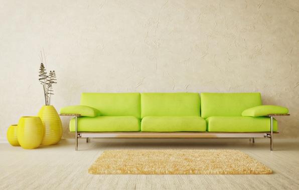 Picture design, green, style, room, sofa, interior, minimalism, light, yellow, flooring, Mat, vases
