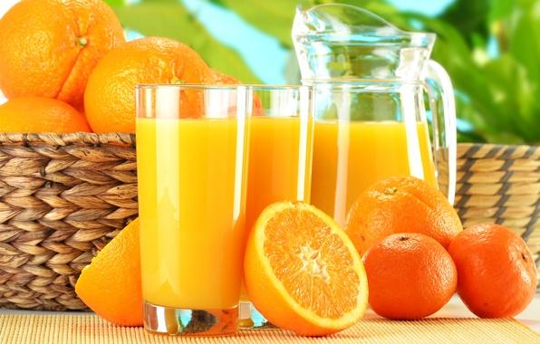 Picture basket, oranges, juice, glasses, pitcher, fruit, tangerines, orange