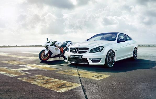 Picture motorcycle, Mercedes, sportbike, Ducati, ducati 848, mercedes c63 amg