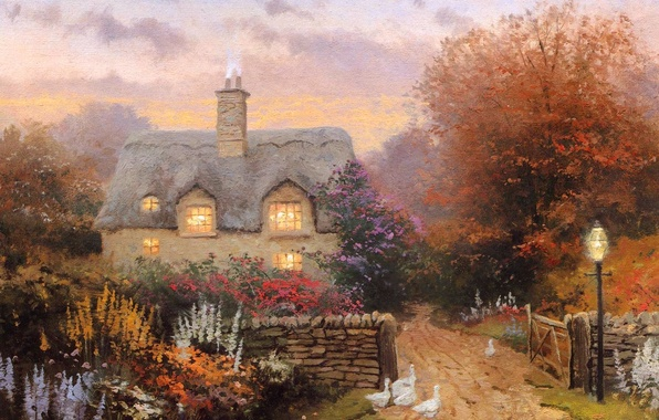Picture sunset, flowers, picture, house, painting, cottage, geese, Thomas kinkade, Kincaid