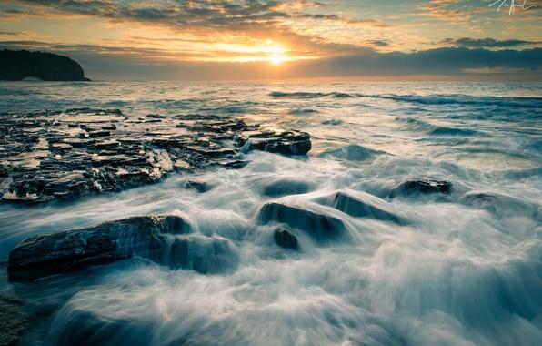 Picture sunset, stones, Australia, Australia, Warriewood Beach, New South Wales, The Tasman sea, Tasman Sea