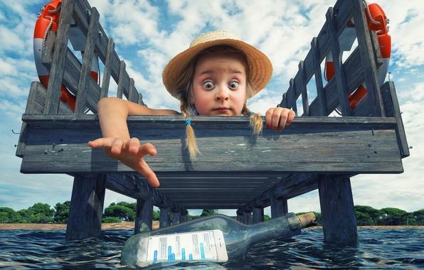 Picture find, bottle, hat, pier, girl, braids, smartphone