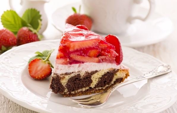 Picture berries, strawberry, plate, cake, plug, dessert, cakes, sweet