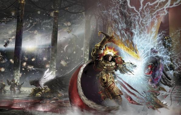 Picture Terra, Horus Heresy, Warhammer 40000, The Emperor, fight, Sanguine, Horus, Chorus, Emperor, Visions of Heresy, …