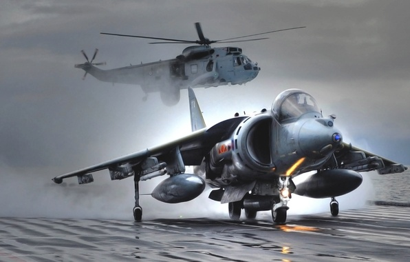 Picture Sea, The plane, Fighter, Helicopter, Wings, Aviation, BBC, Harrier, Bomber, Overcast, Harrier, GR Mk-7
