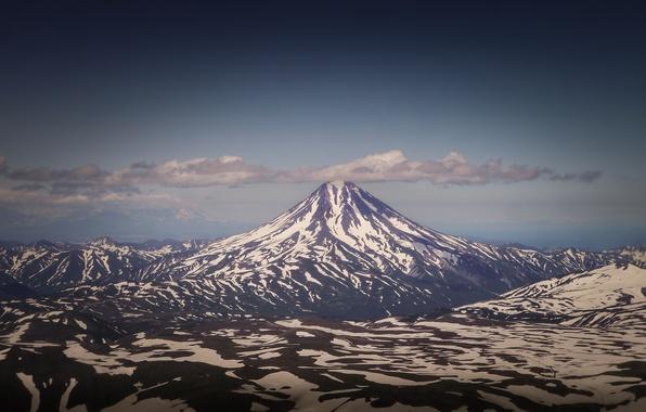 Picture the sky, clouds, snow, mountains, horizon, Russia, Kamchatka, Vilyuchinsk, Klyuchevskaya Sopka