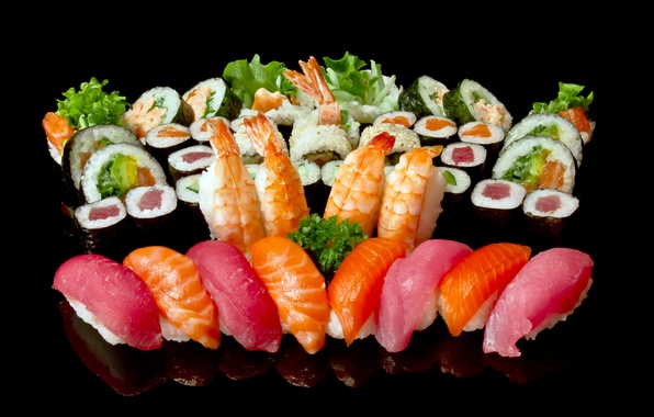 Picture greens, fish, figure, black background, sushi, rolls, shrimp, seafood, salmon, cuts, tuna
