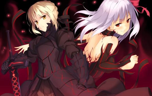 Picture weapons, girls, sword, anime, art, fate stay night, dark saber, distortion, dark matou sakura, kinta
