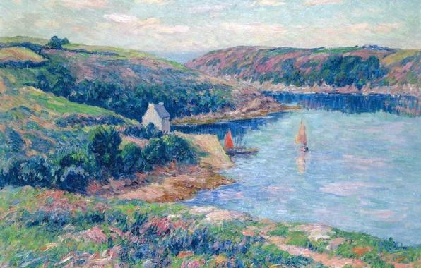 Picture landscape, mountains, hills, boat, picture, yacht, sail, Henri Sea, The River Belon