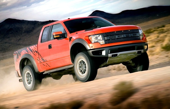 Picture Ford, Speed, Ford, Orange, Raptor, Car, Car, Raptor, Wallpapers, SUV, Power, F-150, SVT, Wallpaper, SVT
