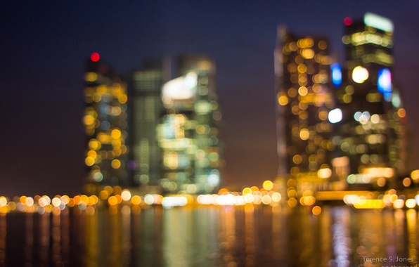 Picture light, night, the city, lights, Singapore, bokeh