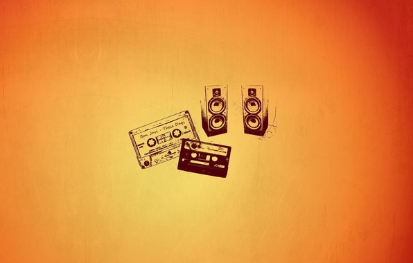 Picture orange, creative, background, minimalism, art, speakers, magazine, Creative, brightness
