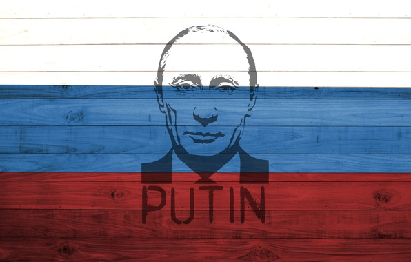 Picture red, white, Russia, wood, blue, flag, colour, President, Putin