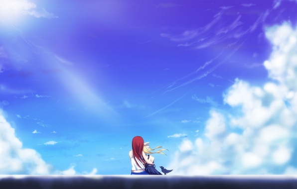 Picture the sky, clouds, girls, art, hugs, air, sitting, kamio misuzu, Haruko Kamio, yottin