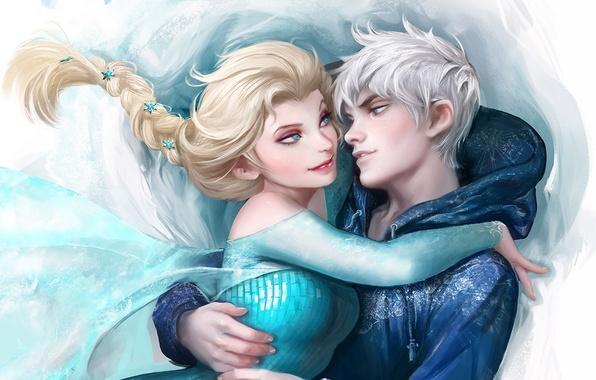 Picture Frozen, Rise of the Guardians, Elsa, Jack Frost, Snow Queen, Cold heart, Winter Spirit