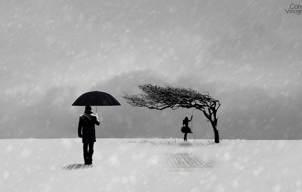 Picture winter, sadness, girl, mood, minimalism, black and white, guy