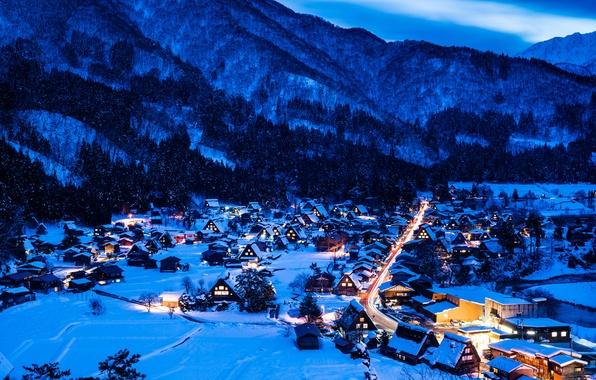 Picture winter, snow, mountains, night, lights, home, Japan, valley, the island of Honshu, Gokayama, Shirakawa-go
