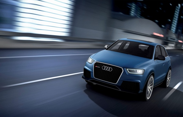 Picture road, the city, Audi, Blue, Machine, The concept, The front