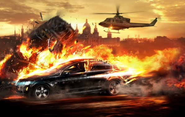 Picture fire, helicopter, Wheelman, Chase